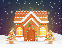 Gingerbread House Christmas Night Scene