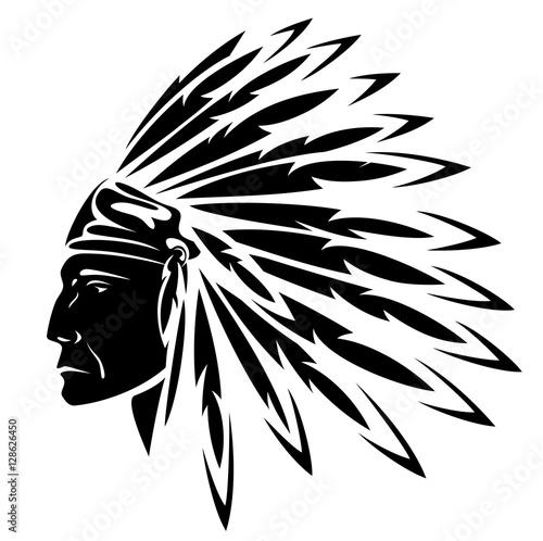 North American Indian chief - vector illustration Wallpaper Mural