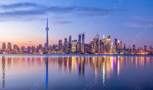 Toronto Skyline with purple light - Toronto, Ontario, Canada Wallpaper Mural