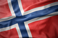 Waving Colorful Flag Of Norway.