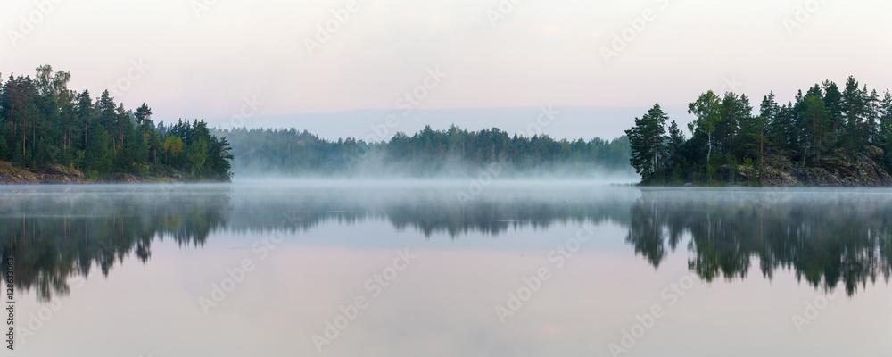 Fototapeta Panorama of morning lake