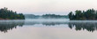 Leinwandbild Motiv Panorama of morning lake