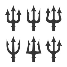 Trident Silhouette Set On White Background. Vector