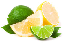 Lime And Lemon With Leaves Iso...