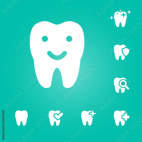 illustration of dental icons set #128637649