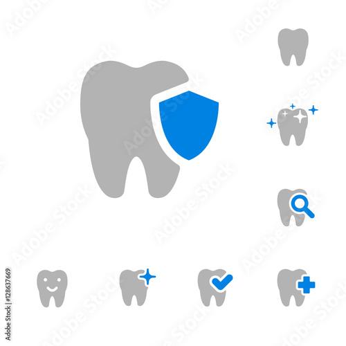illustration of dental icons set #128637669