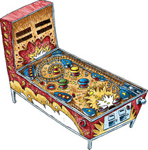 A Colorful, Cartoon Pinball Machine Drawn And Colored In A Ballpoint Pen Illustration Style.