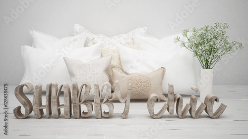 Foto-Rollo - Shabby chic concept, wooden letters with pillows and flowers (von ArchiVIZ)