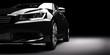 Leinwanddruck Bild - New black metallic sedan car in spotlight. Modern desing, brandless.