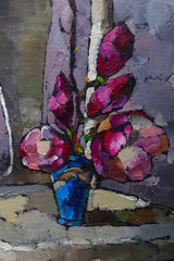 Fototapeta Do salonu Oil painting still life with purple magnolia flowers On Canvas with texture in the grayscale