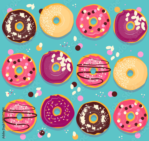 Cotton fabric Donuts collection cheerful pattern. Bright seamless back with doughnut.