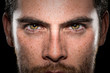 Conviction focused determined passionate confident powerful eyes stare intense athlete exercise trainer male
