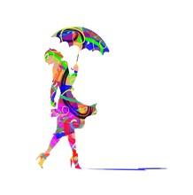 Woman And Umbrella  Illustration