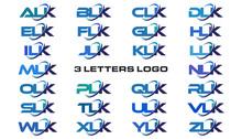 3 Letters Modern Generic Swoosh Logo  ALK, BLK, CLK, DLK, ELK, FLK, GLK, HLK, ILK, JLK, KLK, LLK, MLK, NLK, OLK, PLK, QLK, RLK, SLK, TLK, ULK, VLK, WLK, XLK, YLK, ZLK