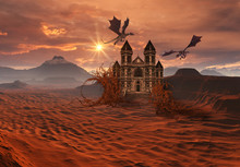 3D Created And Rendered Fantasy Landscape With Dragons And A Castle