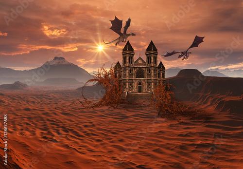 Plakat 3D Stworzone i renderowane fantasy Krajobraz ze smokami i zamkiem