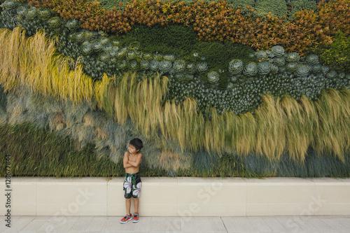 Foto op Plexiglas Wand A little boy stands crossed arms by flower wall.