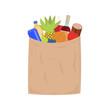 Vector market paper shopping bag full groceries