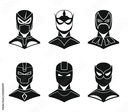 Fotomural  Superhero concept set in black simple style isolated on white background