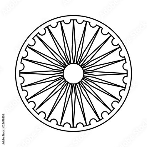 Ashoka Chakra Symbol Icon Vector Illustration Graphic Design Buy