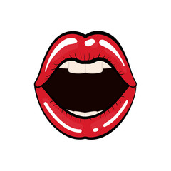 Woman lips comic style icon vector illustration graphic design