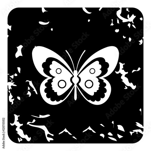 Foto op Aluminium Vlinders in Grunge Butterfly icon. Grunge illustration of butterfly vector icon for web