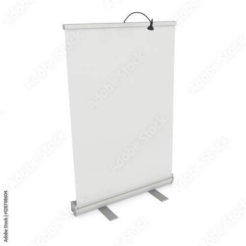 Blank Roll Up Banner Stand  Trade show booth white and blank  3d