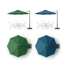 Set Of Blue Green Blank Patio Outdoor Beach Cafe Bar Pub Lounge Restaurant Round Umbrella Parasol Top Side View Isolated