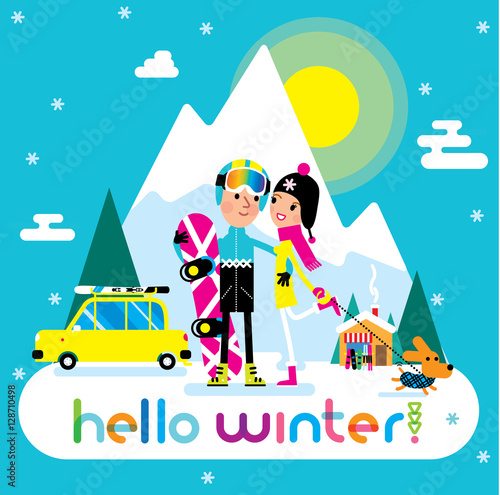 Staande foto Kinderkamer Hello winter poster with snowboarder man and his girlfriend. Snowing Mountains view. Little car with the skies on the roof on the background.
