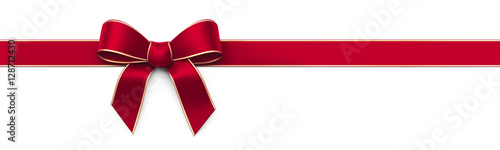 Red silk ribbon with bow - panorama banner Fototapete