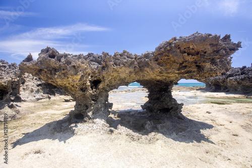 Papel de parede almost lunar landscape, Amoronia orange bay, Indian Ocean, north of Madagascar