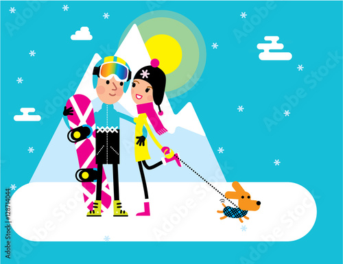 Staande foto Kinderkamer Snowboarder man and a girl with a dog at the winter mountain resort. Vector illustration