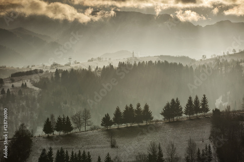 Poster Morning with fog Rural landscape from Romania in Carpathian Mountains.Rural lands