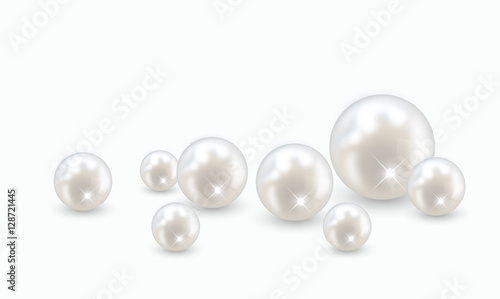 Beautiful realistic pearl set illustration vector Wallpaper Mural