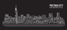 Cityscape Building Line Art Vector Illustration Design - Pretoria City