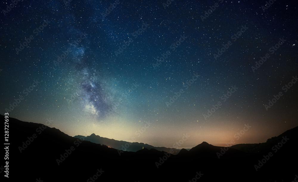 night sky stars with milky way on mountain background