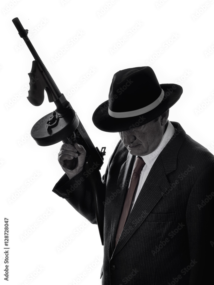 Fototapeta Old style gangster with tommy gun, on white background
