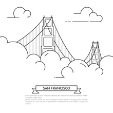 San Francisco Banner With Golden Gate In Fog Line Art