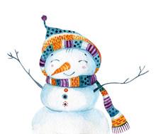 Watercolor Cartoon Snowman In ...