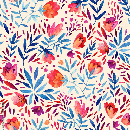 Obraz Watercolor ornate flowers seamless pattern. - fototapety do salonu