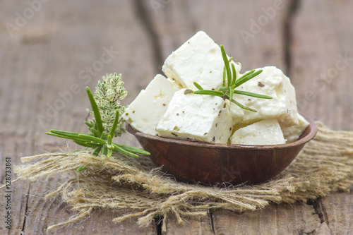 Fresh feta cheese with herbs
