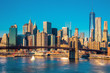 Skyline of downtown New York at the morning light , New York Cit