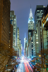 FototapetaNew York City at night - 42nd Street with traffic, long exposure