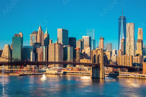 Printed kitchen splashbacks Brooklyn Bridge Skyline of downtown New York at the morning light , New York Cit