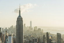 USA, New York City, Cityscape With Empire State Building As Seen From Rockefeller Center Observation Deck