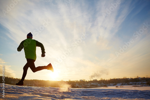 Poster Glisse hiver Running outdoors