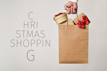 Shopping Bag With Gifts And Text Christmas Shopping