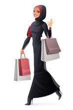 Vector Muslim Woman Walking Wi...