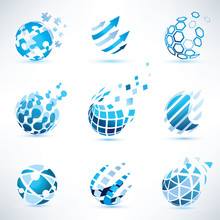 Abstract Globe And Puzzle Symbol Set,communication And Technolog