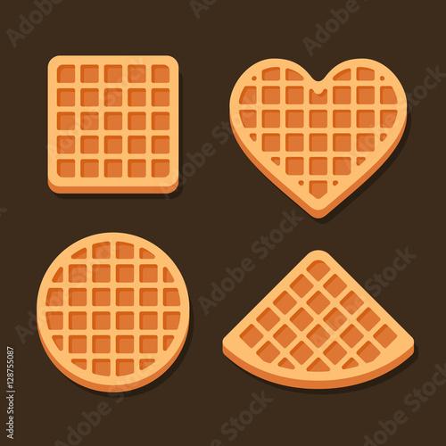 Fotografía  Belgium Waffles Icon Set on Dark Background. Vector